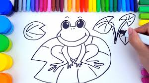 coloring pages for kids to learn colors with frog how to draw