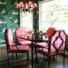 Unique Dining Room Furniture Unique Dining Room With Pink Furniture And Natural Green Wallpaper