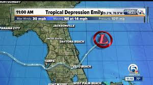 Jensen Beach Florida Map by Poorly Organized Tropical Depression Emily Moves Over The Western