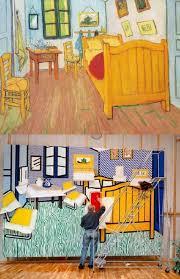 van gogh bedroom painting van gogh s bedroom in arles being repainted by roy lichtenstein