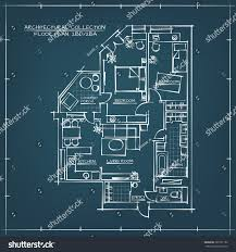 architectural blueprint floor plan bedrooms apartment stock vector
