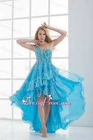one shoulder high low beading baby blue prom dress