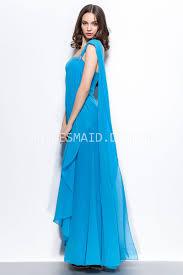 bright blue grecian one shoulder floor length elegant bridesmaid