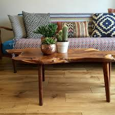 mid century walnut live edge coffee table mid century coffee