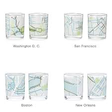 Bike Map Portland by City Bike Map Glasses Set Of 2 Bicycle Map Glasses Uncommongoods