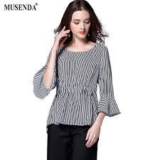 blouse plus size musenda plus size chiffon royal blue striped tunic blouse