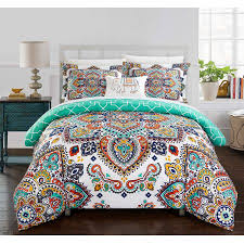 geometric pattern bedding chic home kacey 8 piece reversible comforter bed in a bag globally