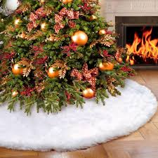 amazon com aerwo faux fur christmas tree skirt 48 inches snowy