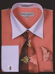 de mens coral white french cuff dress shirt tie set ds3006wtprt