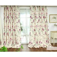 Purple Floral Curtains Fresh Linen Cotton Pink Print Floral Curtains