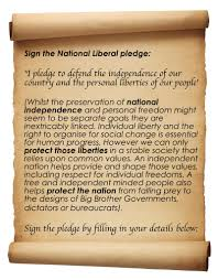 sign the pledge national liberal party liberty independence