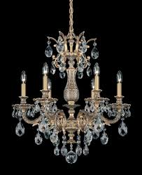 Lights Chandelier 5676 27a Parchment Gold Spectra Clear Crystals 6 Lights