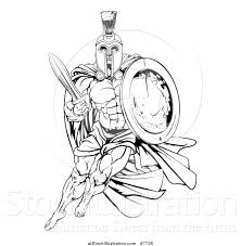 vector illustration of a black and white strong spartan trojan
