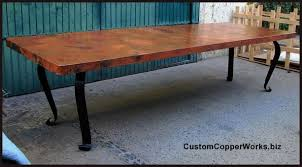 rectangular copper dining room table forged iron table base 1 6