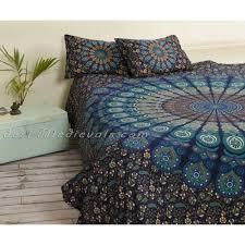 turquoise mandala tapestry bedding kingsize with pillows bohemian
