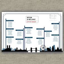 london city wedding seating chart with streets name and road