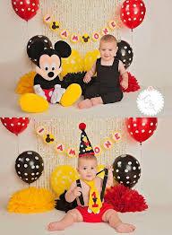 mickey mouse 1st birthday boy mickey mouse 1st birthday pom poms photo shoot poms baby boy