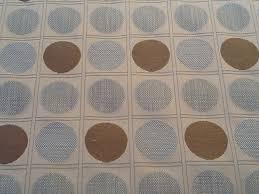 home decor weight fabric modern circles squares pattern bold beige brown blue upholstery
