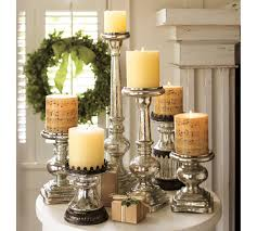 Candle Pedestals Elegance Mercury Glass Pillar Candle Holders Home Decorations