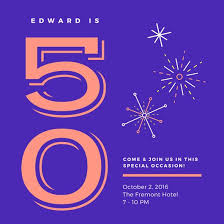 blue bold 50th birthday invitation templates by canva