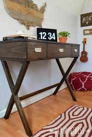 Free Plans To Build A Corner Desk by Diy X Leg Desk With Drawers Diy Huntress