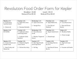 dinner order form template food order form sle exle template for food order form 15