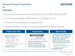 wholesale floor plan financing navistar international corporation 2016 q4 results earnings