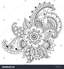 henna flower template mehndi style stock vector 573873619