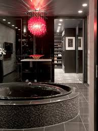 black and white bathroom with relaxing interior lighting traba