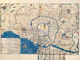 Ancient Map Ancient Map Of Old Japanese Capital Edo Tokyo Stock Photo Picture