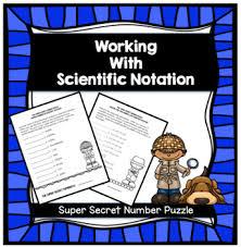 working with scientific notation pre algebra secret number puzzle scientific notation tpt