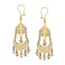 Colorful Chandelier Earrings 14k Tricolor Gold Chandelier Earrings Ejer22816