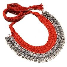 red necklace online images Buy jewels dunia german silver oxidised silk thread ball necklace jpg