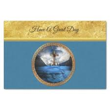 gold foil tissue paper jesus in the sea with a wood cross and gold foil tissue paper