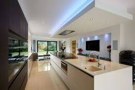 modern open plan kitchen lighting with led ceiling lights howiezine