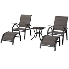 malibu 5 piece adjustable sling chair and table set at home at