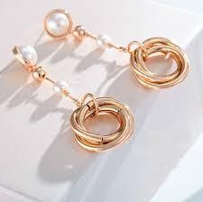 trendy gold earrings trendy gold pearl dangling earring venust jewelry