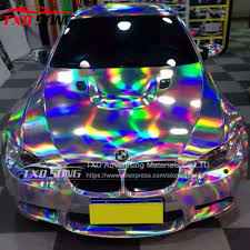 chrome wrapped cars 152 x40cm silver black holographic chrome vinyl holo film laser