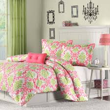 girls pink and green bedding elegant pink green damask scroll teen bedding twin xl full