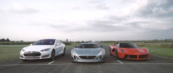 tesla supercar concept tesla model s p90d vs rimac concept one vs laferrari on 1 4 mile