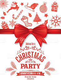 red christmas party invitation template with bow and icons stock