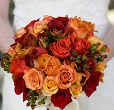 fall color wedding fall flowers red orange hypercium bouquet