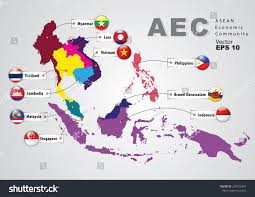 World Geography Map Aec Asean Economic Community World Map Stock Vector 283426097
