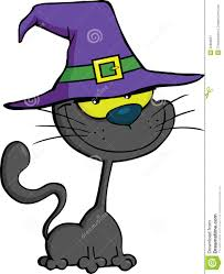 cat with witch hat cartoon illustration royalty free stock
