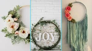 diy shabby chic style hula hoop wreath decor ideas home