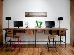 long computer desk for two diy reclaimed wood long computer desk for two with metal legs and