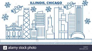 usa illinois chicago winter city skyline merry and