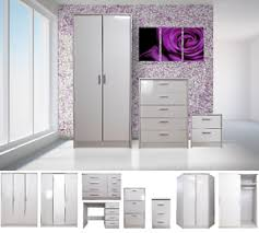 High Gloss Bedroom Furniture by High Gloss Bedroom Furniture Set Wardrobe Chest Bedside Dressing