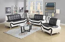 Black Leather Sofa And Chair Wanda White Black Bonded Leather Sofa Set 3pc 2pc Sofa Loveseat