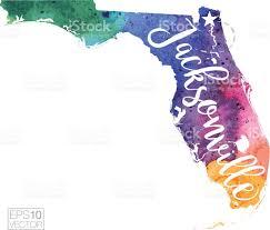 Jacksonville Map Jacksonville Florida Vector Watercolor Map Stock Vector Art